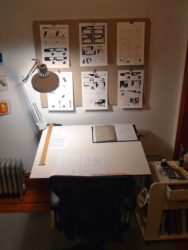 Workspaces Of The Greatest Artists Of The World (38 Pictures) - Adrian Tomine, graphic novelist
