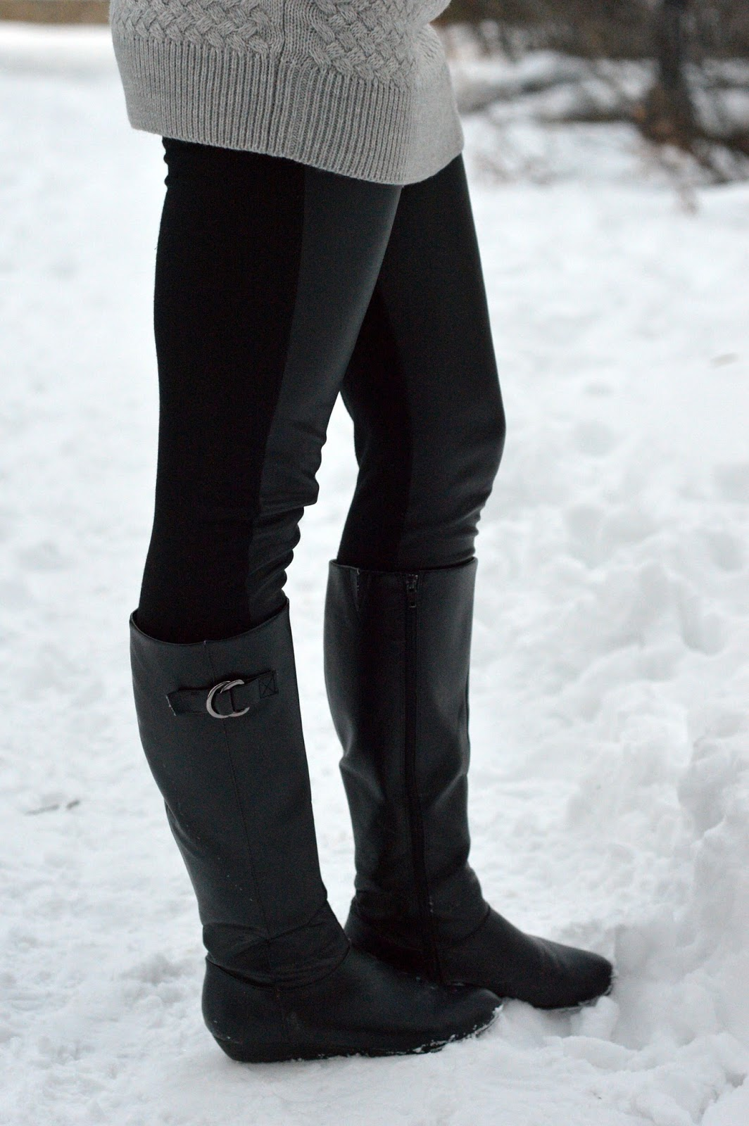front panel leather leggings