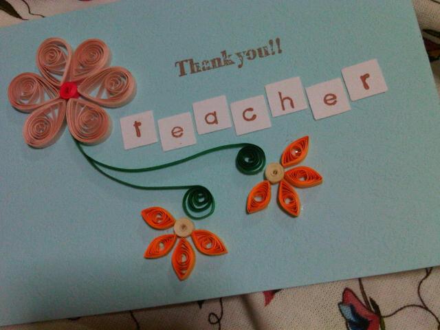 handmade with loveain teacher's day card
