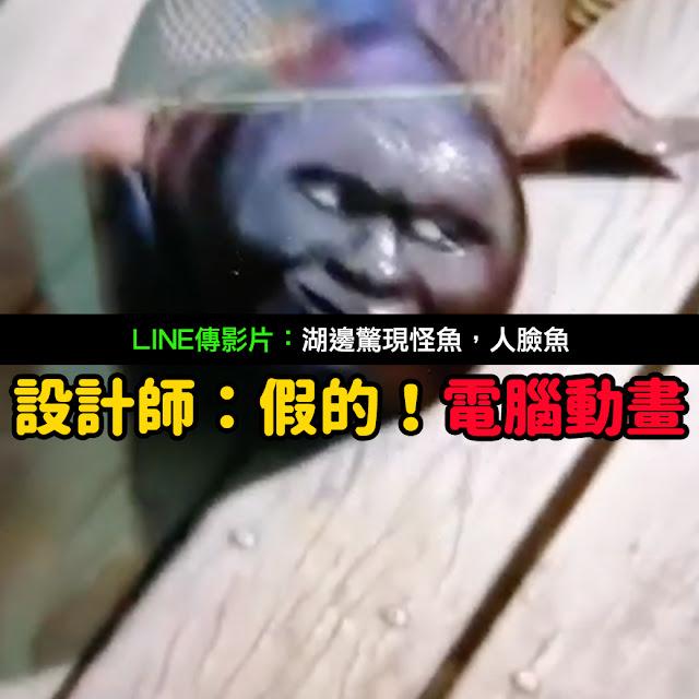 人臉魚 湖邊驚現怪魚 謠言 影片 假的 動畫