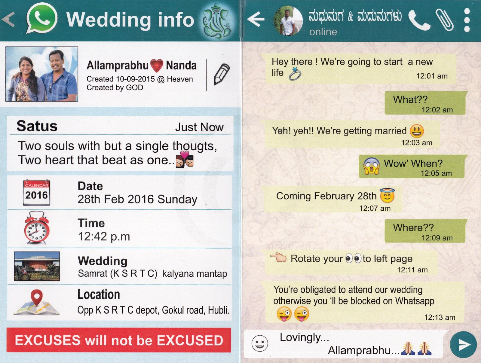 Allamprabhu menasinkai whatsapp wedding card for Wedding invitation free online for whatsapp