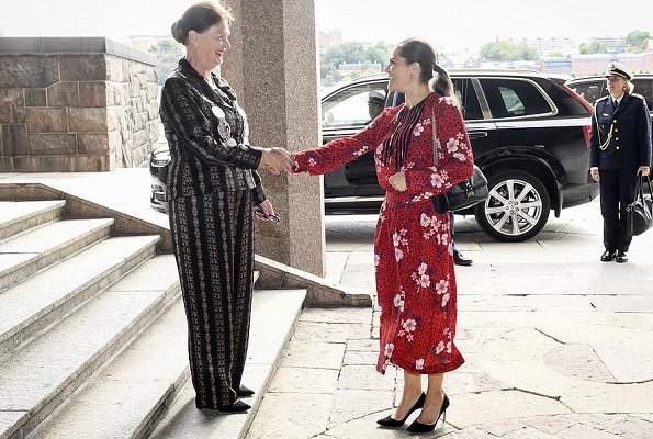 Crown Princess Victoria wore Zadig&Voltaire remus long pensee dress, Ralph Lauren Suede Pumps, Valentino Shoulder Bag