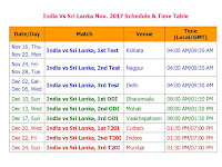 India Vs Sri Lanka Nov. 2017 Schedule & Time Table, Sri Lanka tour of India 2017, India sri lanka November series schedule, sri lanka vs India nov 2017 full schedule & time table, odi cricket, t20, match timing, Indian time, IST, GMT, local time, venue, place, match score, cricket schedule 2017, India vs sri lanka 2017 schedule & time table, fixture sri lanka vs India 2017, 2017 november india vs sri lanka schedule, match detail, India team squad, sri lanka team squad, player list,