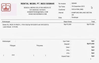 Cetak Invoice Rental Mobil