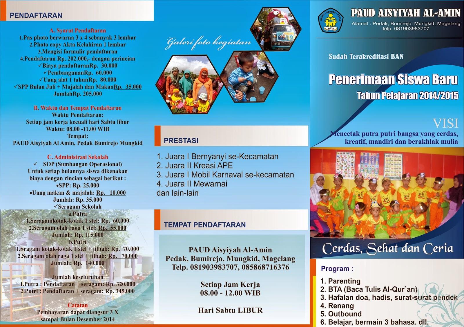 Brosur Penerimaan Siswa Baru 2014 2015 Paud Al Amin Bumirejo