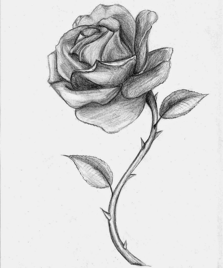 Long Stem Rose Tattoo Realistic