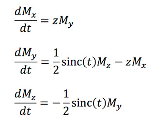 The Bloch equations in a rotating coordinate system, averaged over time, in terms of dimensionless variables, when describing the magnetization during slice selection in magnetic resonance imaging. The annoying primes are removed.