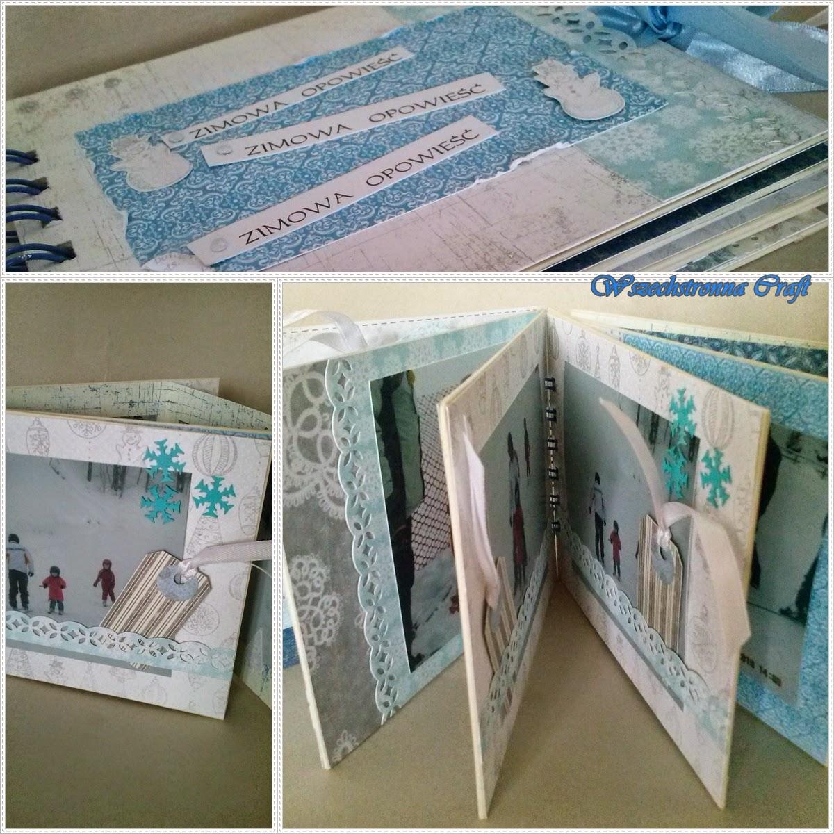 mini album niebiesko-biało-szary