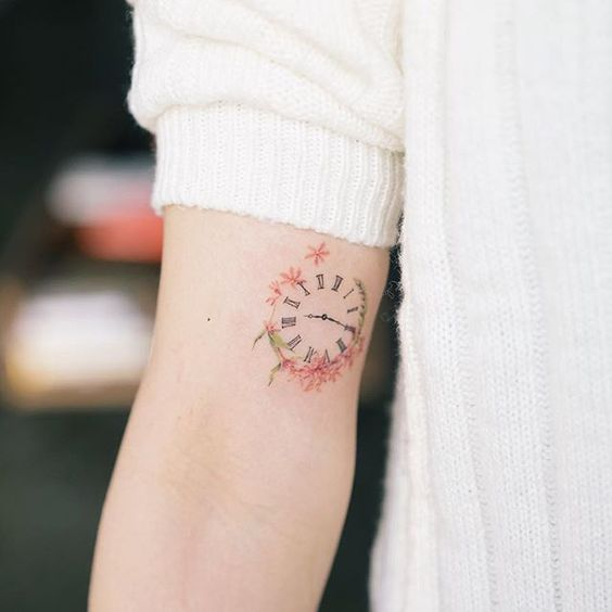 Cute Clock Tattoo For Women