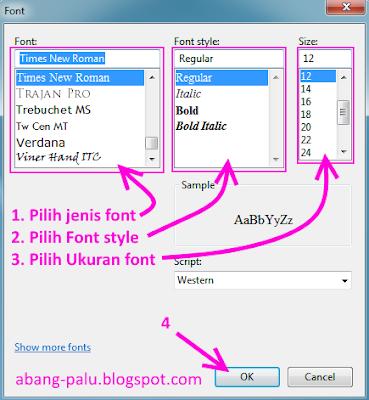cara merubah jenis font di notepad