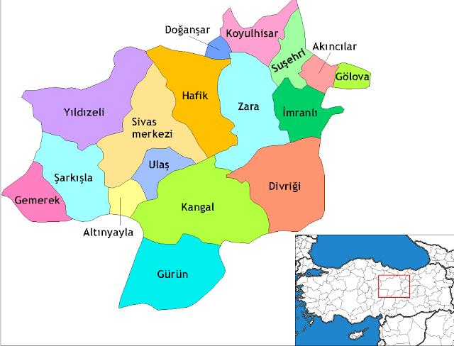Sivas'ın İlçeleri