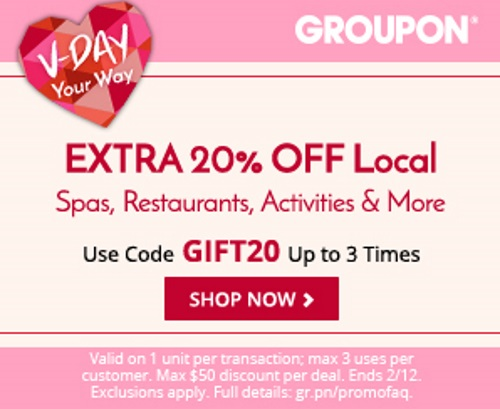 Groupon Valentine's Day Extra 20% Off Local Deal Promo Code