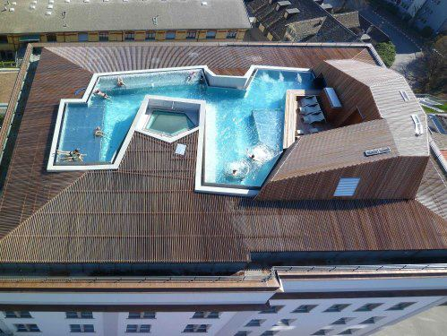 Swimming pool in roof top, Zurich.