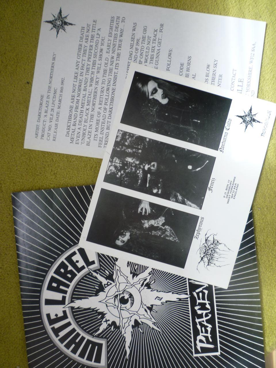 Black Metal Museum: Dark Throne test press vinyl - 1992