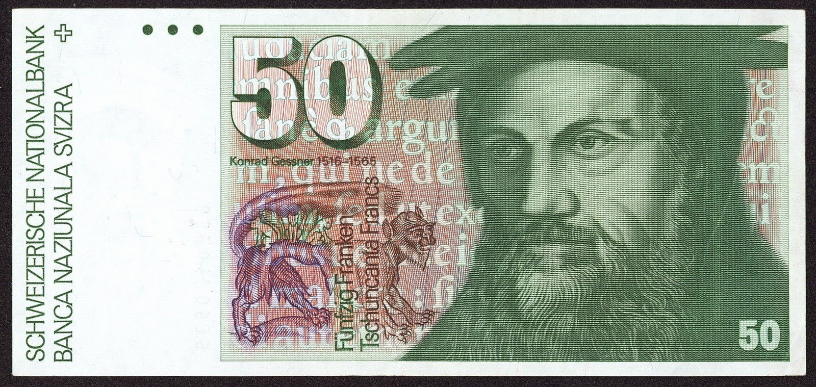 Banknotes of Switzerland 50 Swiss Franc note, Konrad Gessner