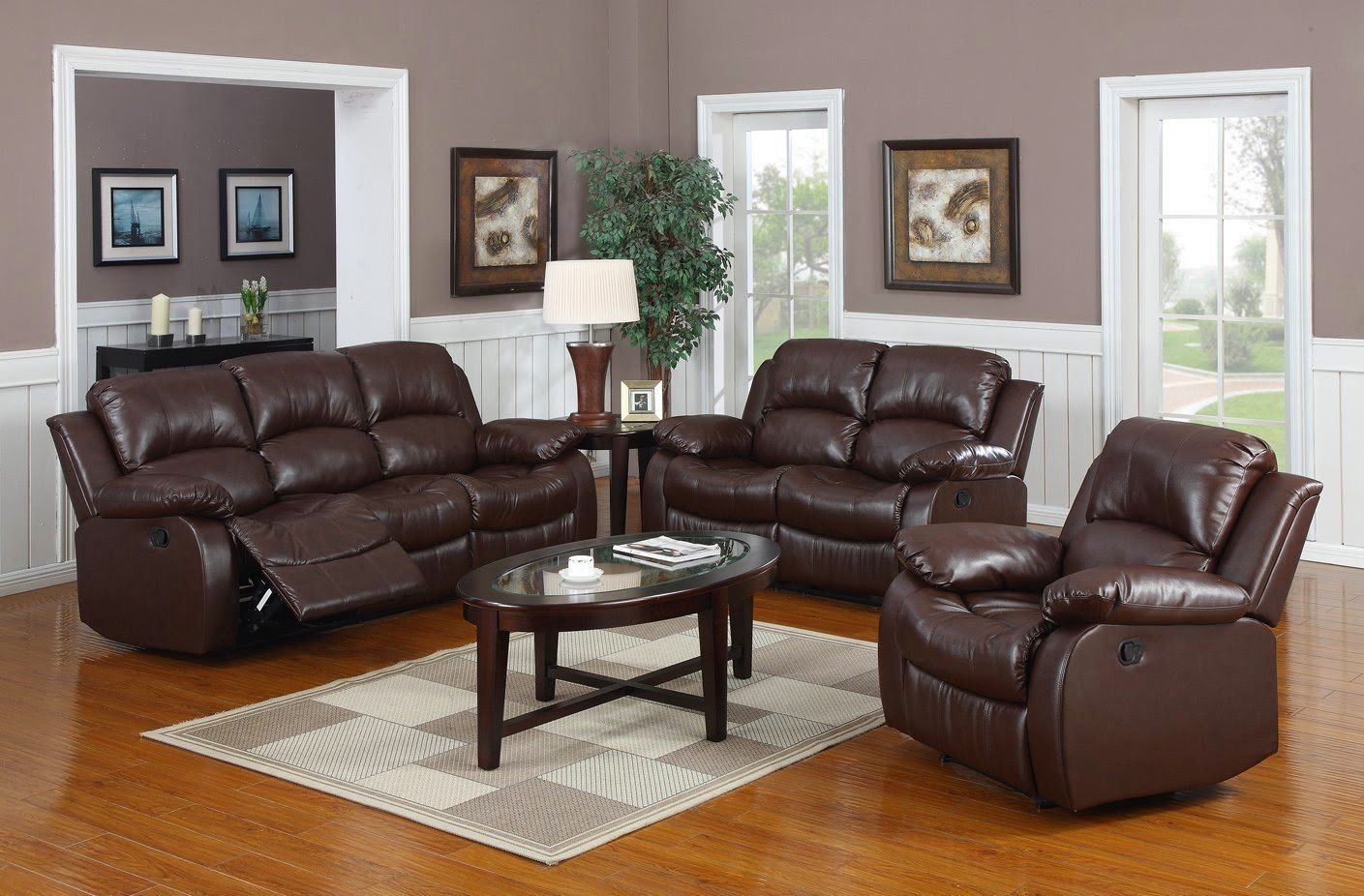 3 Pc Whitaker Brown Reclining Sofa Set