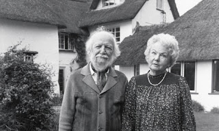 William Golding & his wife Ann in their Wiltshire Garden in 1983