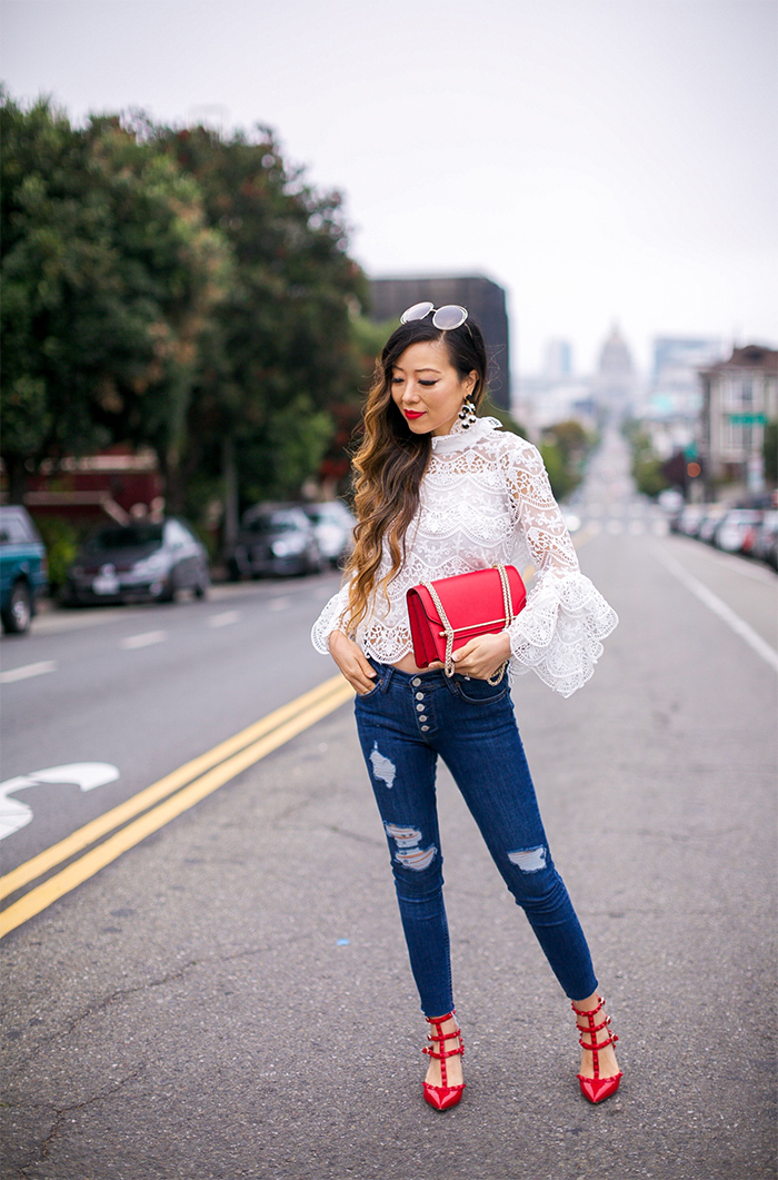 bow knot lace top, endless rose bow tie lace top, baublebar earrings, chloe sunglasses, free people button jeans, valentino rock studs, strathberry east west bag, fall fashion, fall style, san francisco fashion blog, san francisco street style