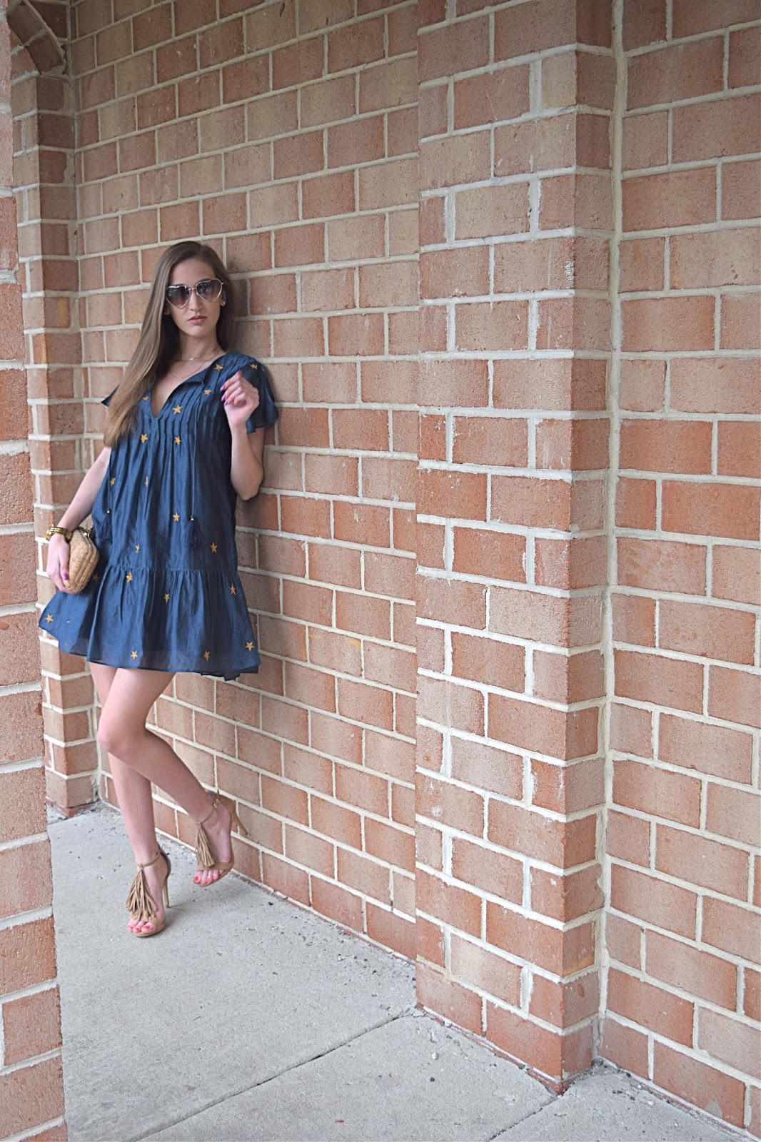 wearing Tularosa Carson Dress, Express Fringe Tassel Heel, BP nordstrom heart sunglasses