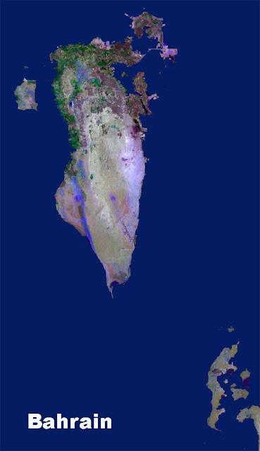 Gambar Peta Negara Bahrain tampak dari satelit