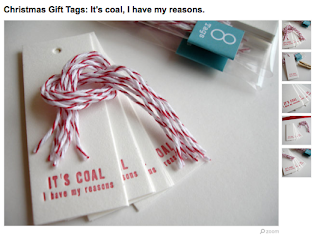 'It's Coal' gift tags by Sarah of Tuttaloupress