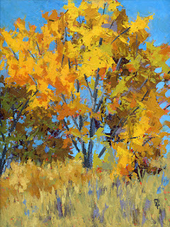 landscape painting autumn tree palette knife fall color