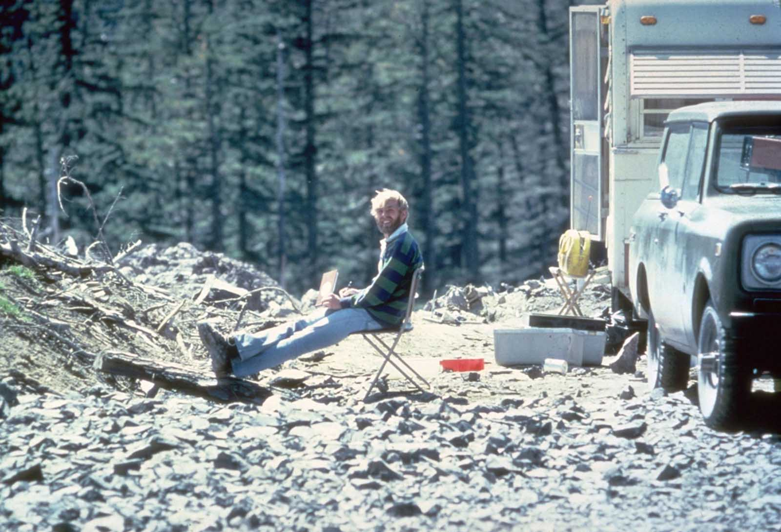 On May 17, 1980, vulcanologist David Johnston sits at Coldwater II camp near Mt. St. Helens. At 8:32 a.m. the next morning, Johnston radioed a message to the USGS headquarters: