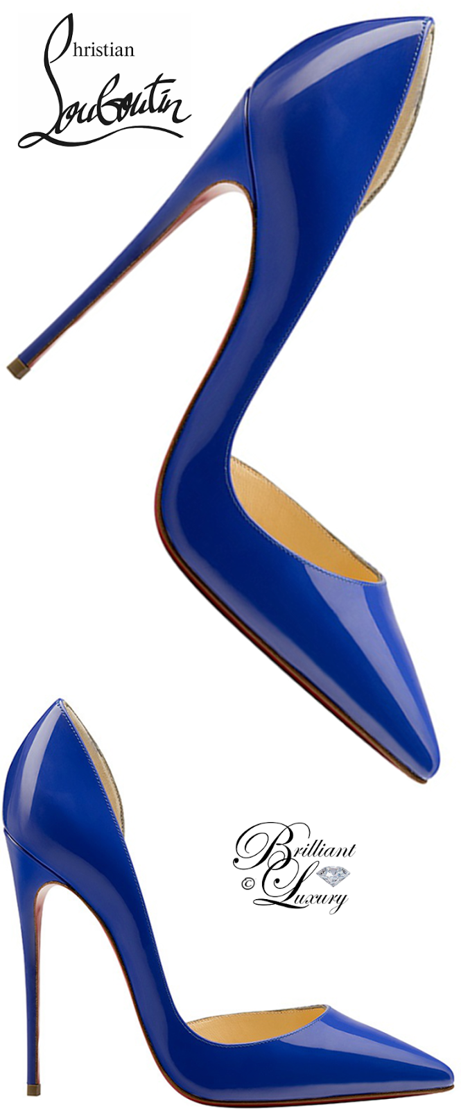 Brilliant Luxury ♦ Christian Louboutin Iriza Half D'Orsay Red Sole Pump #blue