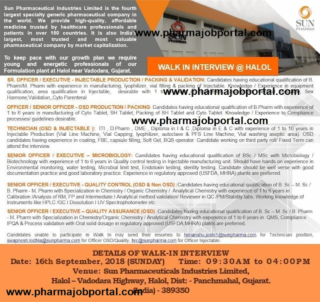 SUN PHARMA Walk In Interview For Multiple Vacancies in  Quality Assurance, Quality Control, Microbiology, Production, Packing at 16 Sep