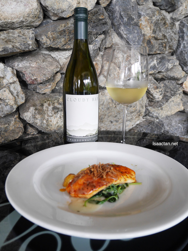 Traditional Sole Meuniere with Baby Spinach and crispy leek paired with Cloudy Bay Chardonnay 2014