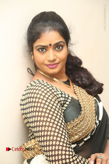 Telugu Actress Jayavani Jayavani Stills in Black Saree at Intlo Deyyam Nakem Bhayam Success Meet  0077.JPG