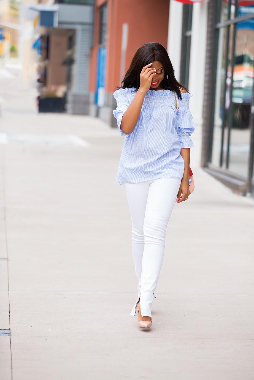 off shoulder stripe tunic, white jeans, www.jadore-fashion.com