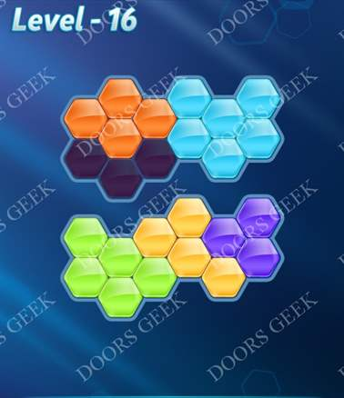Block! Hexa Puzzle [6 Mania] Level 16 Solution, Cheats, Walkthrough for android, iphone, ipad, ipod