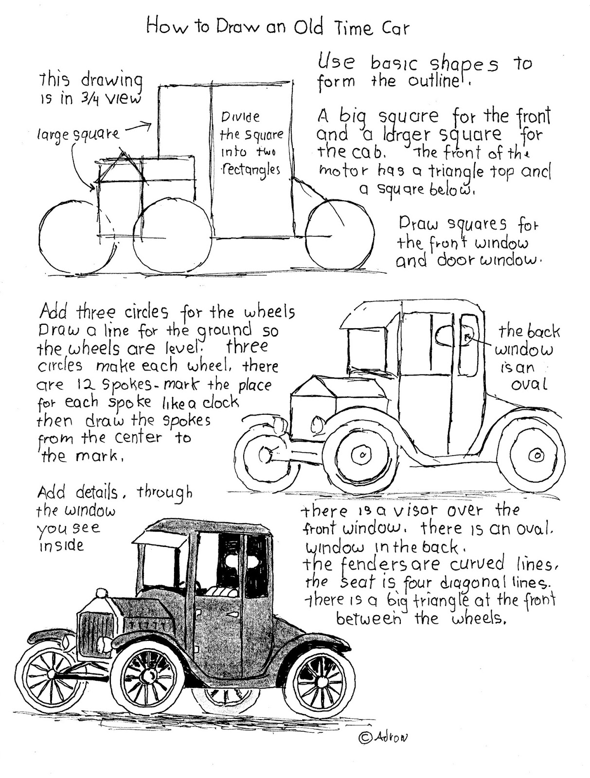 How To Draw Worksheets For The Young Artist How To Draw An Old Time Car Worksheet