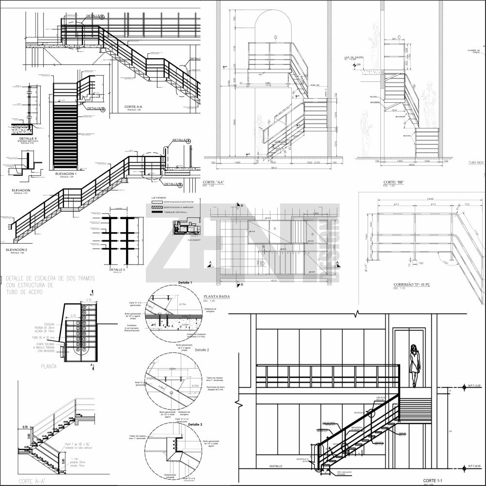 Escaleras metalicas planos metal stairs zent design 2d for Pdf planos arquitectonicos