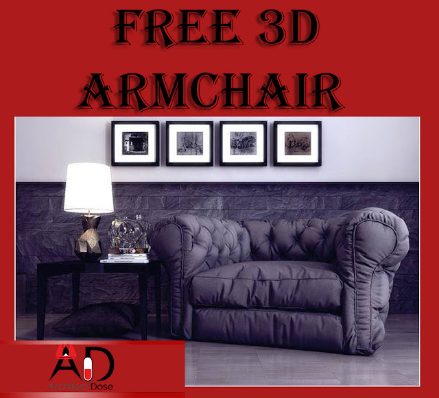 3D Armchair Sketchup Model, 3D Models, Chair models, 3D chair