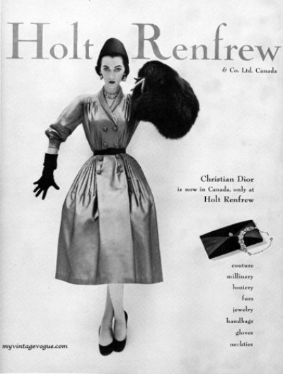 Model Wearing Christian Dior Shirtwaist Dress in Holt Renfrew Ad