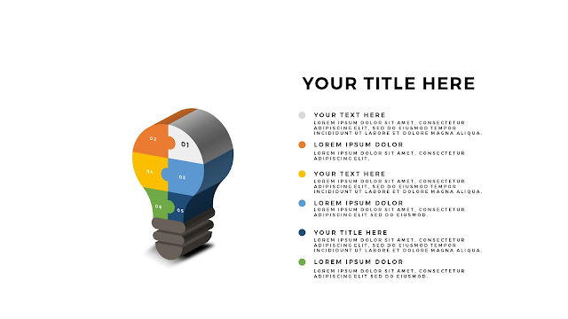 Free PowerPoint Template with Light Bulb 3D Puzzle white background