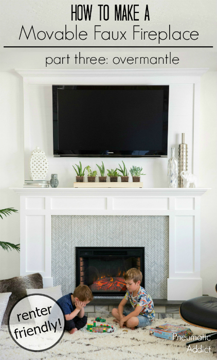 How to build a renter friendly over-mantle that can accommodate a large TV mount. Part three of a movable faux fireplace tutorial.