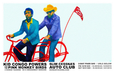 Dec 30 and New Years Eve Dec 31 Kid Congo & The Pink Monkey Birds w/ Slim Cessna's Auto Club in Denver at 3 Kings Tavern