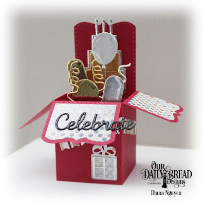 Our Daily Bread Designs, Surprise Box, Celebrate and Wish, Bitty Borders, Balloons and Streamers, Winter Collection, Designed by Diana Nguyen