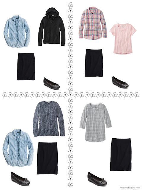 four ways to style a black ponte skirt from a travel capsule wardrobe