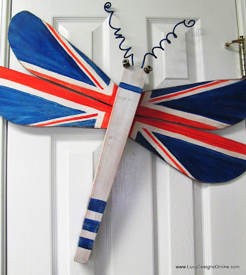 hand painted Union Jack dragonfly