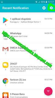 klik aicon gear untuk hapus riwayat notifikasi recent notification