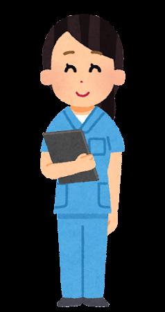 スクラブを着た女性看護師のイラスト