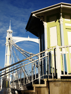 {pastel coloured} albert bridge in chelsea