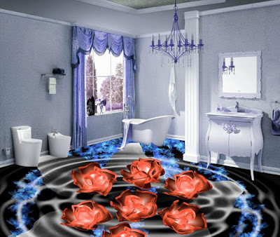Artistic 3d floor for bathroom with flowers dancing in the water of light