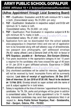 Army Public School Gopalpur Wanted Pgt Plus Tgt Plus Prt