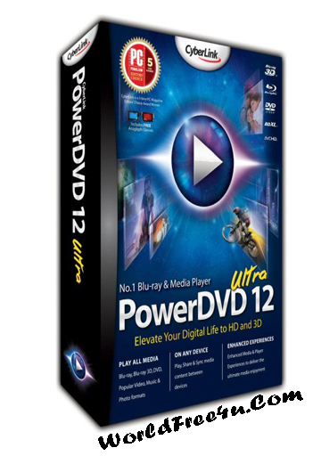 Cover Of CyberLink Power DVD Ultra 12.0 Free Download Full Version With Crack And Keygen Mediafire Links At worldofree.co