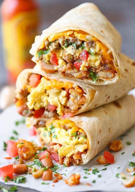 healthy breakfast burrito freezer recipes, freezer breakfast burritos with sweet potato hash and black beans, simple breakfast burrito freezer